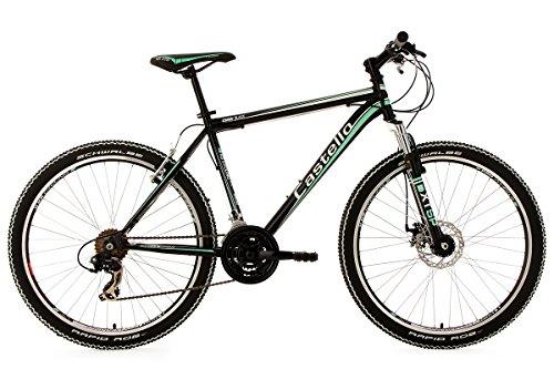 KS Cycling 130 M Castello CMW – Bicicleta de montaña enduro, color negro / verde, talla L (173-182 cm), ruedas 26″, cuadro 48 cm