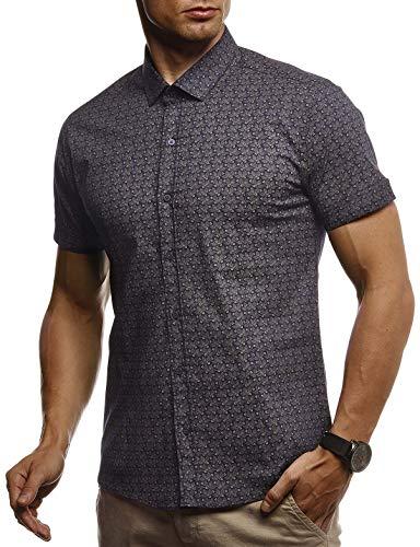 LEIF NELSON Herren Hemd Kurzarm Slim Fit T-Shirt Kentkragen | Stylisches Männer Freizeithemd Stretch Kurzarmhemd | Jungen Basic Shirt Freizeit Sweater Kurzarmshirt | LN3840 Blau-Camel Small