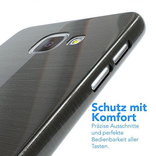 Samsung Galaxy A5 (2016) Hülle - EAZY CASE Ultra Slim Cover TPU Handyhülle Matt - dünne Schutzhülle aus Silikon in Transparent / Weiß Brushed Anthrazit