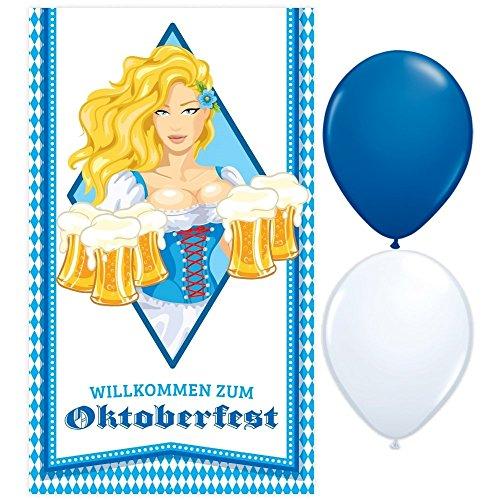 Banner / Poster Bayern - Oktoberfest Kellnerin - 120 cm x 70 cm + 2 Gratis Luftballons Blau & Weiß Ø 30 cm ()