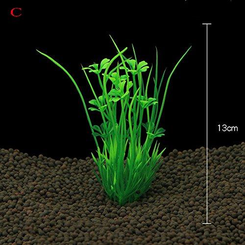 Berrose-10 Stück Aquarium Kunststoff Dekoration Aquarium Grünpflanzen-Wasser-Gras Zierpflanze- Aquarium Ornament Kunststoff Dekoration Pflanze für Fish Tank Zubehör