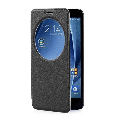 ivencase per ASUS Zenfone 2 Premium Ultra-Thin Flip PU Cover in Ecopelle [View Window] Modello Bumper Slim Folio Protectiva Custodia Case Cover Perfetto Fit per ASUS Zenfone 2 ZE551M / ZE550ML 5.5'