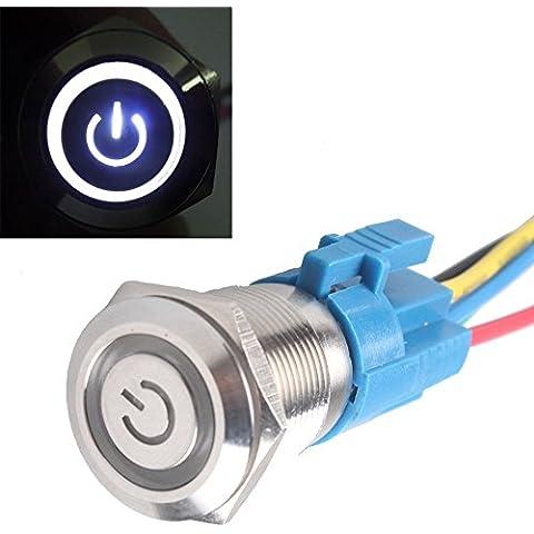 Mintice™ 19 millimetri 12V 5A bianca veicolo auto luce dell'occhio di angelo energia interruttore a bottone in metallo pulsante LED Presa di corrente