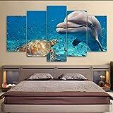 hhlwl Dipinto a spruzzo della casa della tela di canapa Pittura animale moderna del muro del delfino delle stampe di arte di schiocco Moderna appendere le immagini-30x40/60/80cm-no frame