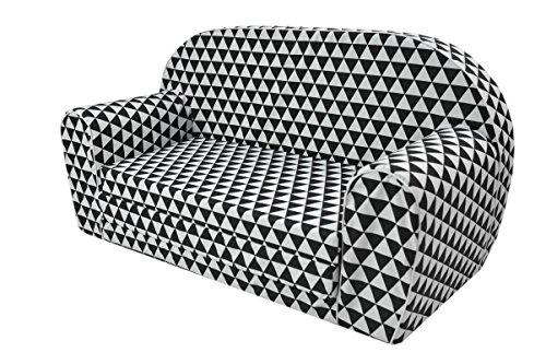 MoMika Canapé Enfants Sofa-Light Enfants | Enfant dans Le Fond Pliable Canapé 2 en 1 et lit | 0-4 Ans (Hearts) (Triangles)