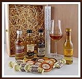 Geschenk 4 rauchfreie Single Malt Whisky Miniaturen (je 5cl) mit 9 Edel Schokoladen + 4 Whiskey Fudge & Glas, kostenloser Versand
