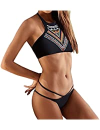 Moin 2016 Nuevo bikini Impresión Moda halter atractiva de traje de baño partido para mujer playa Surf Swim