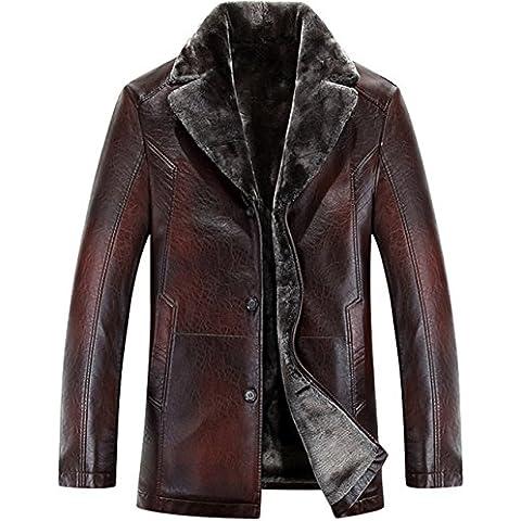 JJZXX Hombres Faux chaqueta de cuero Suit piel de cuello Trench Coat Warm Cashmere Lined Winter Coat