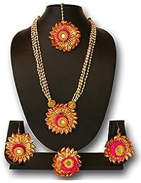 The Peacock Studio Gotta Flower Rani Pompom Pearl Jewellery Set