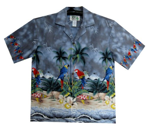 KYs-Original-Camisa-Hawaiana-Parrot-Chest-Pressure-gris-S