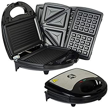 750W Kitchen 3 in 1 Sandwich Toaster Waffle Maker Iron Toast Grill Panini Press by Crystals®