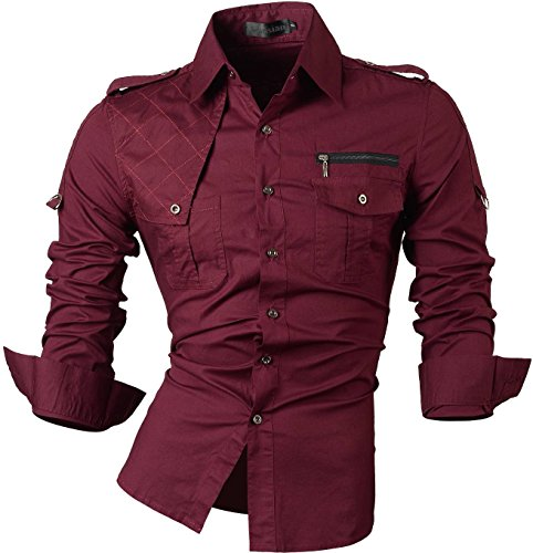 jeansian Herren Freizeit Hemden Shirt Tops Mode Langarmshirts Slim Fit 8371 WineRed XXL -