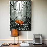 RTCKF Poster da Parete della Torre di Parigi e Stampe romantiche su Strada di Parigi Tela Pittura a Olio Ombrello Stampato Paesaggio murale A1 30x40 cm