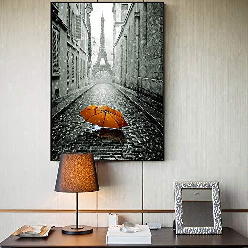 RTCKF Cartel de la Pared de la Torre de París e Impresiones románticas en la Calle de París Lienzo Pintura al óleo Paraguas Impreso Paisaje Mural A5 60x90cm