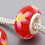 Endearing Charms versilbert rot Blumenmuster Fimo Charm für Pandora/Troll Charm-Armbänder Halsketten