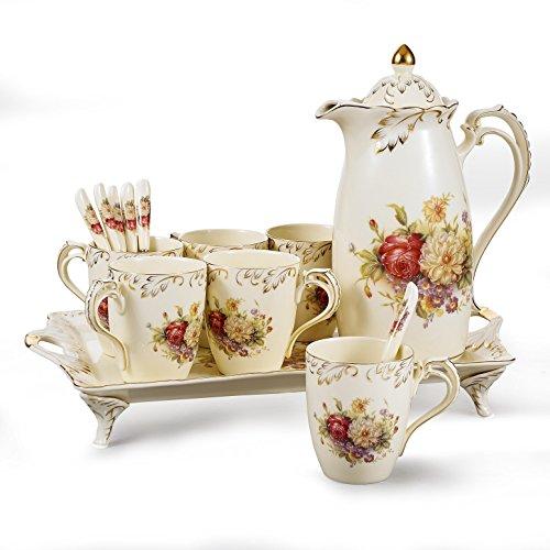 Panbado, 14-teilig Kaffeeservice Set aus Porzellan, Cremefarbe, mit 6 Löffel, 6 Kaffeetassen, 1850 ml Kaffeekanne und Servierplatte, Tee Set