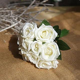ATWFS Fake Blumen 9Köpfe Seide Kunststoff Künstliche Blumen Rosen Hochzeit Bridal Bouquet für Home Garden Party Party Dekoration Milchweiß