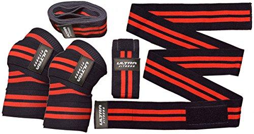Kniebandagen zum Gewichtheben, robuster, elastischer Knieschutz für Kniebeugen, Powerlifting, olympisches Lifting und Crossfit, ca. 180 cm lang und 8 cm breit, Rot / Schwarz