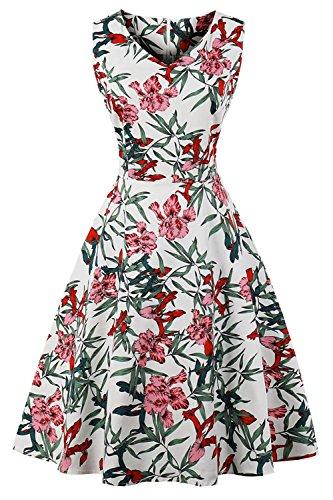 Axoe Damen 50er Jahre Kleid Audrey Hepburn mit Blumendruck Gr.48