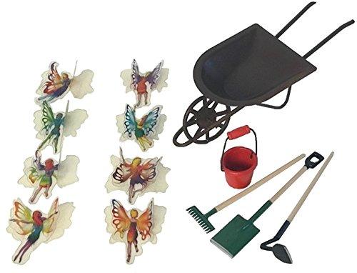 Ahlora Schubkarre mit Mini-Werkzeug, Eimer und 3D-Miniatur-Aufkleber, 8 Feen - Premiere Garten Blatt