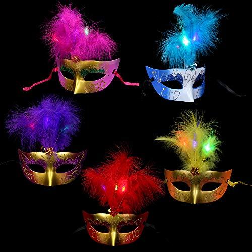 BLEVET 5CS Máscara de Plumas Artificiales Máscara de Medias mascarillas para Carnaval, Carnaval y Baile de Disfraces IE043 (5PCS Muticolor)