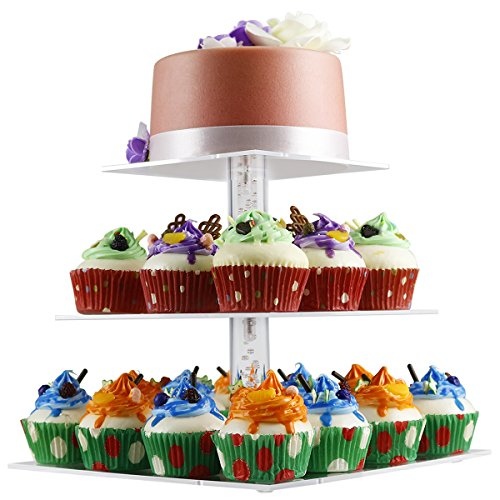 3 tier Cake Stand,NewCrea Birthday Cupcake Stand,Clear,Acrylic,Square (Tee Tier Stand 3)
