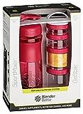 BlenderBottle Combo Pak - Sportmixer Shaker und Gostak Starter 4Pak mit Henkel in einer attraktiven Geschenkverpackung - pink