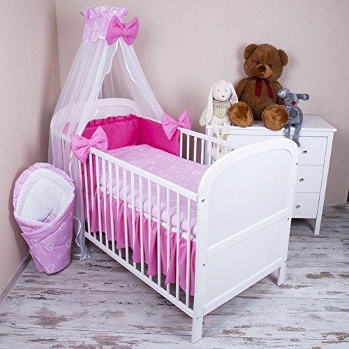 Amilian® Baby Bettwäsche 5tlg Bettset mit Nestchen Kinderbettwäsche Himmel 100x135cm Herzen Rosa Chiffonhimmel