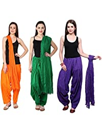 Fashion Store Women Cotton Patiala Salwar With Dupatta Combo Of 3 (Free Size, Mustered-Yellow & Dark Green & Purple )