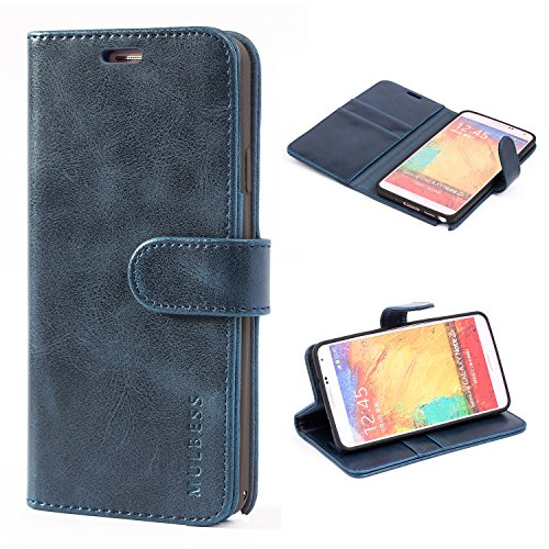 Mulbess Handyhülle für Samsung Galaxy Note 3 Hülle, Leder Flip Case Schutzhülle für Samsung Galaxy Note 3 Tasche, Dunkel Blau