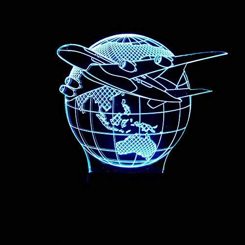 Yuany Earth Aircraft Model 3D Nachtlicht, USB/Power/Colourful/Touch Switch/Stereo / 3D Tischleuchte, geeignet für Kinderzimmer, Schlafzimmer, Wohnzimmer, Auto usw.