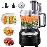 Procesador de Alimentos, AICOK 900W 2.4L Robot de Cocina, Cortador de Verdura Electrico, 3 Modos de Velocidad, 2 Cuchillas Una para Cortar la Carne y Otra para Hacer Masa, Color Negro