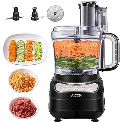Robot da Cucina, AICOK 2.4L 900W Robot da Cucina Multifunzione, 3 Velocità Regolabili Tritatutto da Cucina Elettrico, Food Processor Adatto per Carne, Spezie, Frutta, Verdura, Impastare
