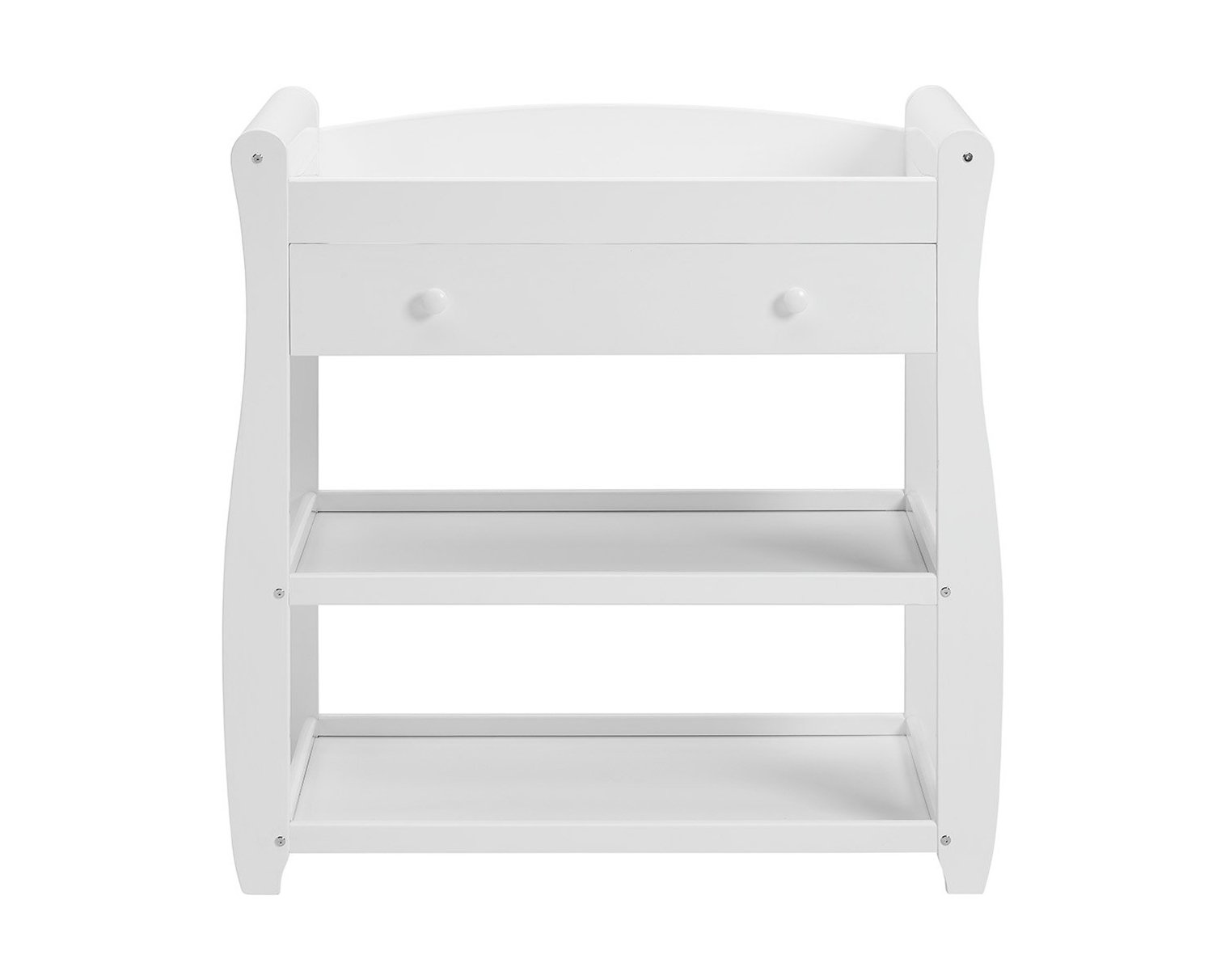 Babymore Sleigh Changer with Drawer (White)  Stylish and practical designed Safe place for changing With 1 drawer and 2 shelves for baby changing essentials 2