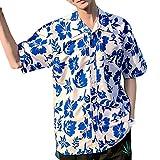 MOTOCO Herren Hawaiihemd / 3D-Druck Lässig Button-Down/Vordertasche/Urlaub Aloha Beach Sommer Kurzarmhemd(XL,Blau-2)