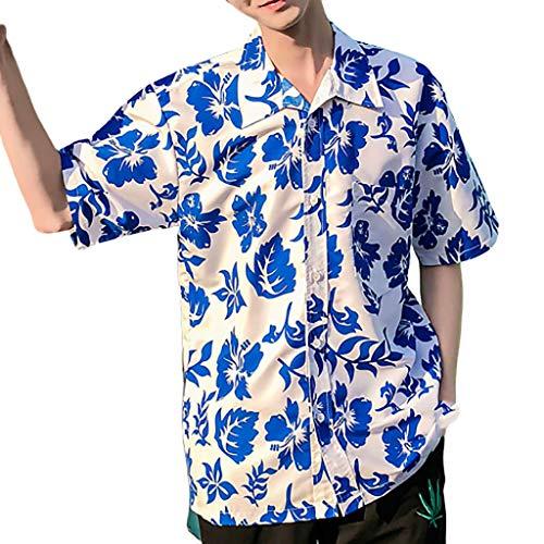 Baumwolle Rolled Sleeve Shirt (Hawaiischen Männer T-Shirt Küstentourismus Strandoberteile, Bluestercool Frühlings Sommer Mode Paar persönliche gedruckte kurzärmlige)