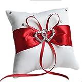 Outflower Double-heart Rhinestone Boda Anillo Almohada Cojín Portador 10 x 10 cm (Rojo)