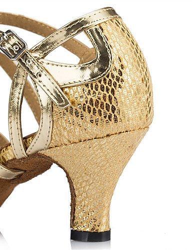 ShangYi Chaussures de danse(Bleu / Rouge / Or / Autre) -Personnalisables-Talon Aiguille-Cuir-Latine / Moderne Red