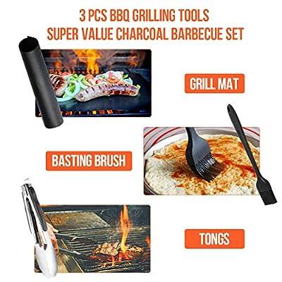 RenFox 35 x 27 x 20 cm Holzkohlegrill inkl Edelstahl Grillzange, Grillpinsel, Grillmatte Kleinen, Mini Faltbare Grill für Garten Camping Park Festivals Party BBQ (Schwarz)