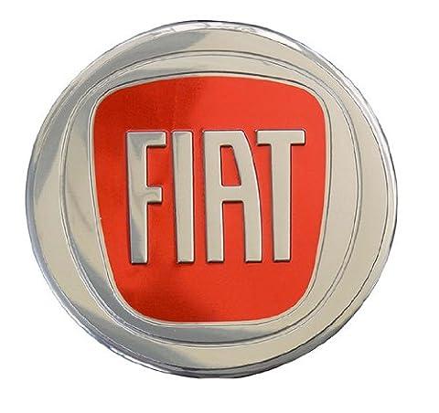 Fiat 500 Large Red on Highly Polished Silver Aluminum Emblem Logo Badge Crest Shield for Hood Trunk Fender New Rare