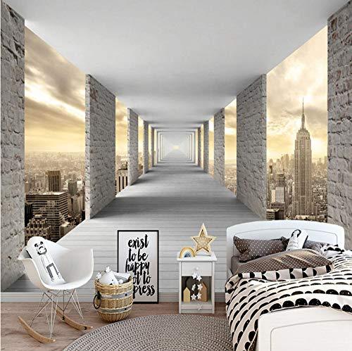 VVNASD 3D Aufkleber Tapete Wand Dekorationen Wandbilder Moderne Einfache Stereo Geometrie Stadt Gebäude Persönlichkeits Kreatives Wohnzimmer Schlafzimmer Kunst Mädchen Schlafzimmer (W) 400X(H) 280Cm