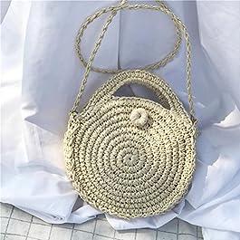 Arvin87Lyly Retro Round Rattan Beach Bag borsa da spiaggia in paglia di puro tessuto, borsa portaoggetti, borsa per la…
