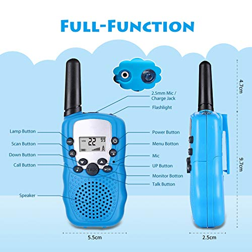 Moglor Walkie Talkie Niños, 3 Pack Walky Talky Niños 22 Canales LCD Pantalla VOX Larga Distancia 3KM,  Linterna Incorporado Juguete Regalo para Niños