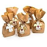 10 kleine SCHUTZ-ENGEL Weihnachts-Verpackung natur braun rot gold silber + 14 x 5,6 x 22 cm Papiertüte Geschenktüte Kinder Erwachsene Kunden Weihnachten Kommunion Geburtstag