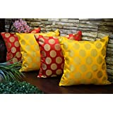 "Snuggle Up In Style With Bold Yet Ethnic RED & YELLOW INDIAN BROCADE BEAUTY Cushion Covers From The House Of Royal DecoFurnishing! (16""x 16"" Inches I.e 40x40Cms) (Set Of 4) - Premium Quality By India's Leading Ethnic Soft Furnishing Brand"
