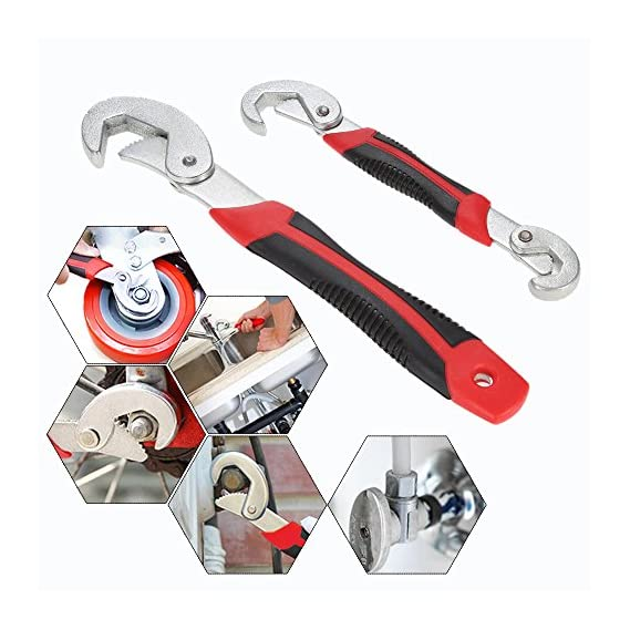 HS-STORE's 1 Set of 2 Pcs Hand Tools Hose All Match Grip Multi function Universal adjustable spanner Garden All in One Wrench