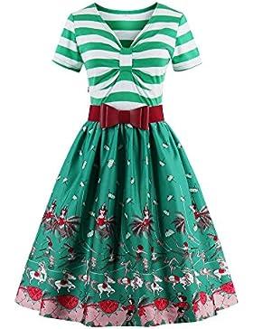 Botomi Las rayas y la impresión en color Retro Vintage vestido vestido de fiesta con elastico cinturon rojo