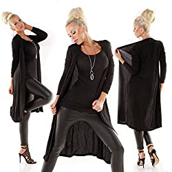 Wholefashion Exclusiv Glam Evening Long Jacke Mantel Strickjacke in Schwarz Größe 40/42
