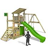 FATMOOSE Klettergerüst FruityForest Fun XXL Spielturm Kletterturm auf 3 Ebenen im Hochsitz-Style mit schrägem Holzdach, Schaukel mit 2 Sitzen, Rutsche und viel Zubehör