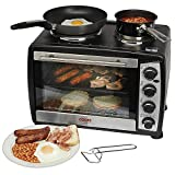Cooks Professional Large 35 Litre Capacity Black Countertop Mini Oven And Grill With Double Hot Plates Includes Wire Rack, Baking Tray 1500w 2 Year Warranty